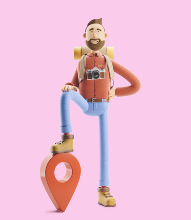 3d illustration. Cartoon character tourist stands with a large map pointer and phone in his hands. Standard-Bild - 118069625