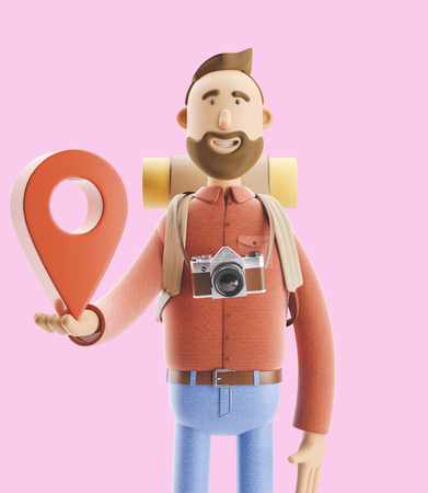 3d illustration. Cartoon character tourist stands with a large map pointer in his hands. Standard-Bild - 118069623