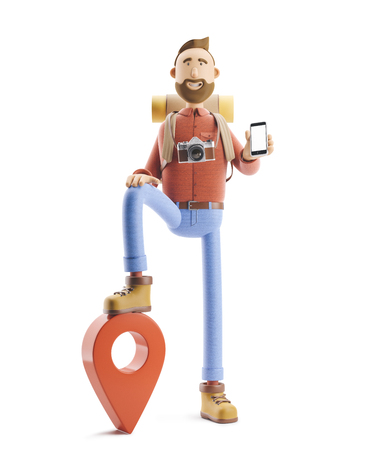 3d illustration. Cartoon character tourist stands with a large map pointer and phone in his hands. Standard-Bild - 118069627