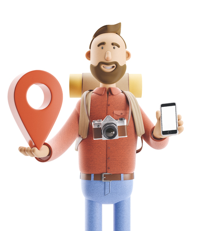 3d illustration. Cartoon character tourist stands with a large map pointer and phone in his hands. Standard-Bild - 118069629