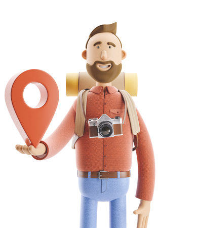 3d illustration. Cartoon character tourist stands with a large map pointer in his hands. Standard-Bild - 118069626