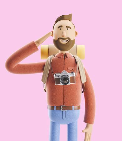 3d illustration. Cartoon character tourist welcomes you. Banco de Imagens