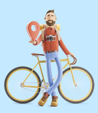3d illustration. Cartoon character tourist stands with a large map pointer in his hands and bicycle. Standard-Bild - 118069631