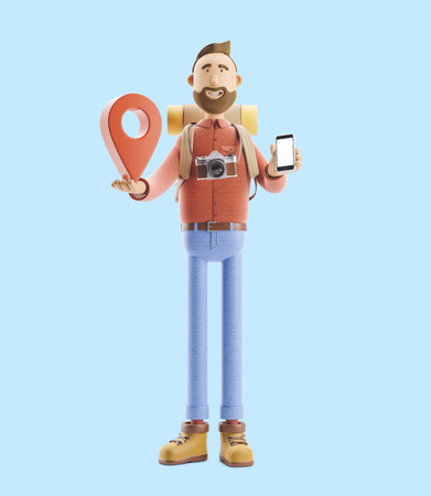 3d illustration. Cartoon character tourist stands with a large map pointer and phone in his hands. Standard-Bild - 118069632