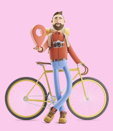 3d illustration. Cartoon character tourist stands with a large map pointer in his hands and bicycle. Standard-Bild - 118069744