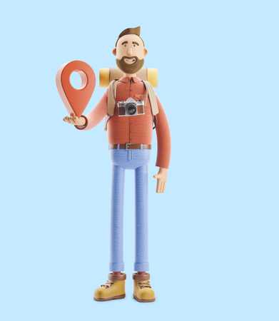 3d illustration. Cartoon character tourist stands with a large map pointer in his hands. Standard-Bild - 118069745