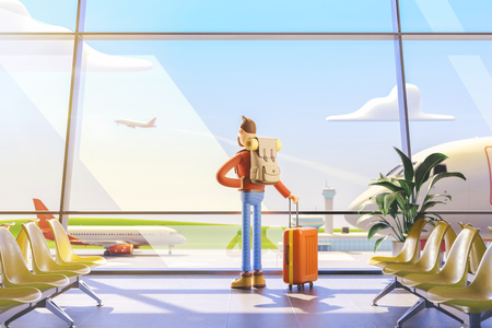 3d illustration. Cartoon character tourist in airport. Man looking out the window at the plane flying away Standard-Bild - 118069752