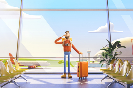 3d illustration. Cartoon character tourist salutes in airport. Standard-Bild - 118069756