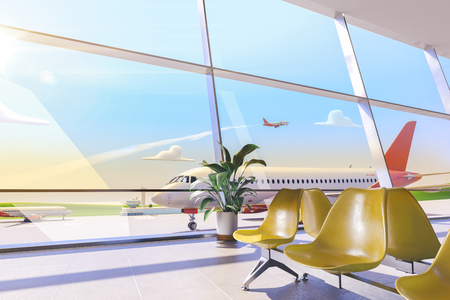 3d illustration. Cartoon airport terminal lounge with airplane on background. Standard-Bild - 118069757