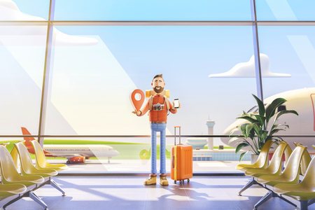 3d illustration.Cartoon character tourist stands with a large map pointer and phone in his hands in airport. The concept of mobile applications for travel. Standard-Bild - 118069760
