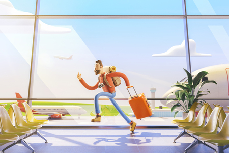 3d illustration. Cartoon character tourist late for flight in airport. Standard-Bild - 118069761