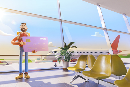 3d illustration. Cartoon character tourist salutes in airport. Concept of travel over the air miles Standard-Bild - 118069762