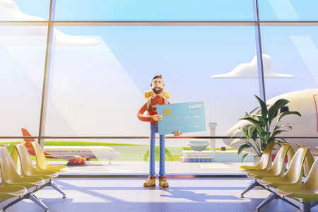 3d illustration. Cartoon character tourist salutes in airport. Concept of travel over the air miles Standard-Bild - 118069844