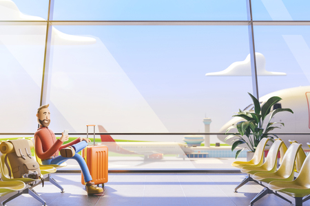 3d illustration. Cartoon character tourist salutes in airport. A man is waiting for his flight in the airport lobby Standard-Bild - 118069843