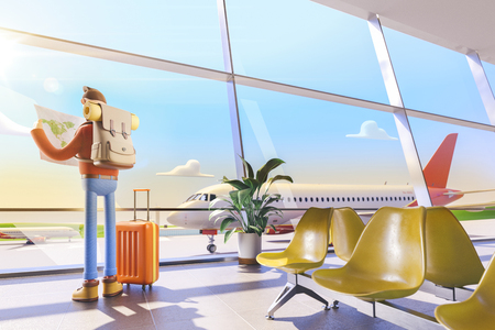 3d illustration. Cartoon character tourist holds world map in hands in airport. Standard-Bild - 118069846
