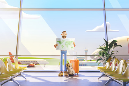3d illustration. Cartoon character tourist holds world map in hands in airport. Standard-Bild - 118069842