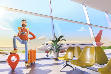 3d illustration.Cartoon character tourist stands with a large map pointer in airport. The concept of mobile applications for travel. Standard-Bild - 118069847