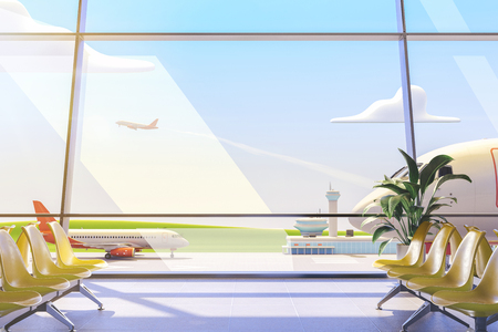 3d illustration. Cartoon airport terminal lounge with airplane on background. Standard-Bild - 118069851