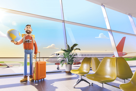 World travel concept. Cartoon character tourist keeps the whole world on the palm in airport. 3d illustration. Standard-Bild - 118069852