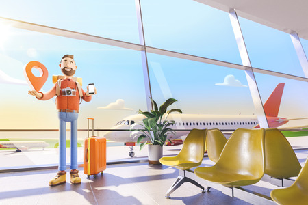 3d illustration.Cartoon character tourist stands with a large map pointer and phone in his hands in airport. The concept of mobile applications for travel. Standard-Bild - 118069855