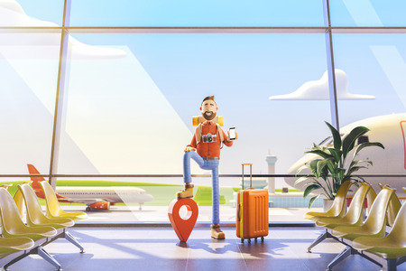 3d illustration.Cartoon character tourist stands with a large map pointer and phone in his hands in airport. The concept of mobile applications for travel. Standard-Bild - 118069858