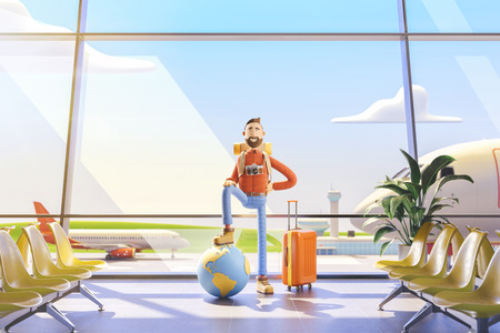 World travel concept. Cartoon character tourist keeps the whole world on the palm in airport. 3d illustration. Standard-Bild - 118069861