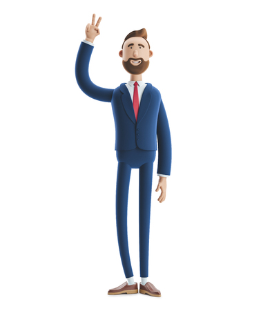 Portrait of a handsome cartoon character showing victory sign. 3d illustration Standard-Bild - 122168771