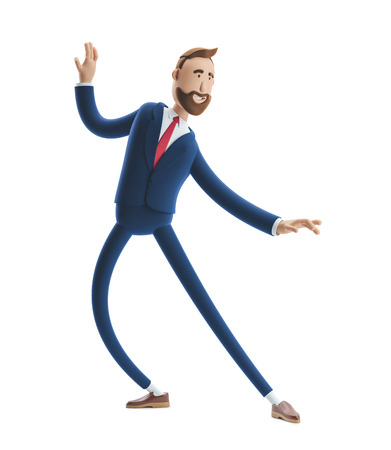 Portrait of a handsome cartoon character happy expression dancing. 3d illustration