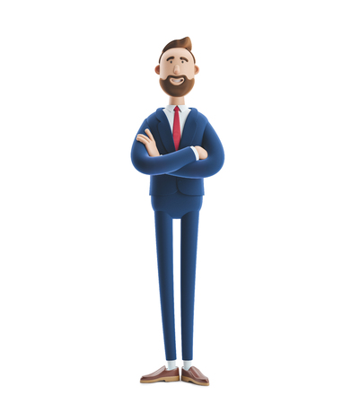 Portrait of a handsome cartoon character. 3d illustration