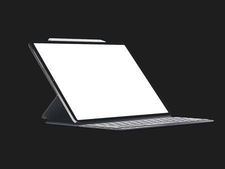 Tablette de l'appareil moderne sur fond sombre isolé