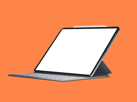 Modern device tablet on isolated color orange background.
