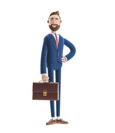 Portrait of a handsome cartoon character Billy stand with case. 3d illustration