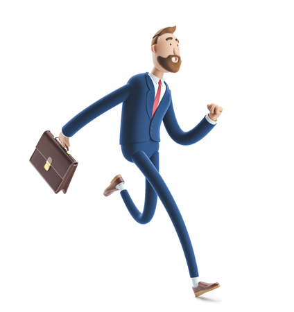 Cartoon character Billy with a case running. 3d illustration Zdjęcie Seryjne