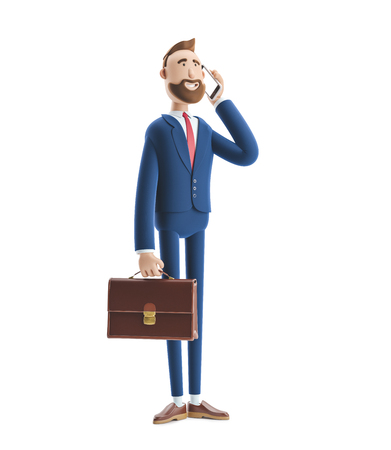 Cartoon character Billy with a case talking on phone. 3d illustration