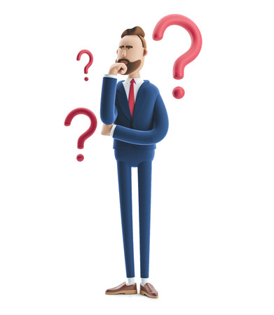 Cartoon character Billy looking for a solution. 3d illustration