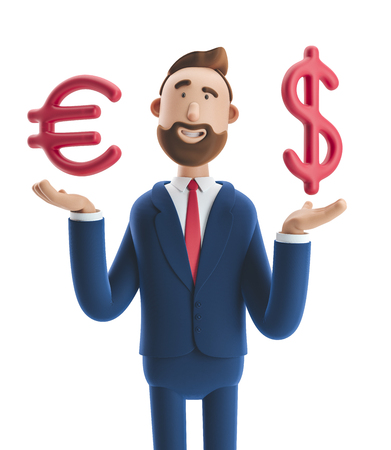 Businessman Billy with big euro and dollar sign. 3d illustration Stock Photo
