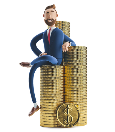 Portrait of a handsome cartoon character Billy with a stack of money. 3d illustration Zdjęcie Seryjne