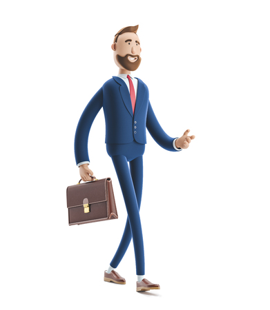 Cartoon character Billy with a case walking. 3d illustration