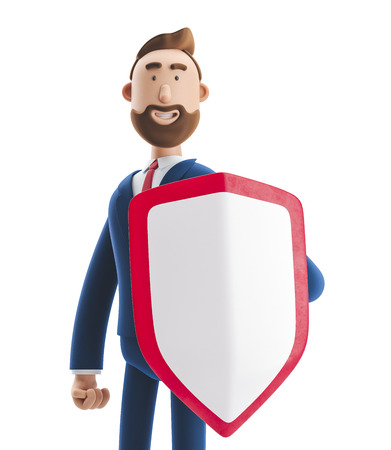 Cartoon character Billy with shield. 3d illustration. Safety and protection in business