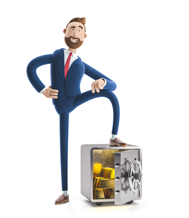 Cartoon character Billy with safe and gold. 3d illustration