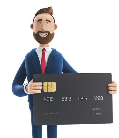 Businessman Billy with black credit card. 3d illustration