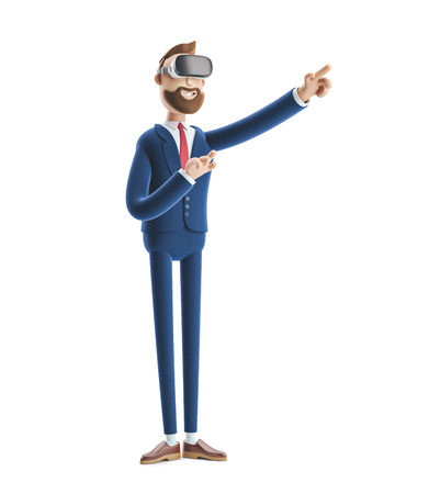 Businessman Billy using virtual reality glasses and touching vr interface. 3d illustration.
