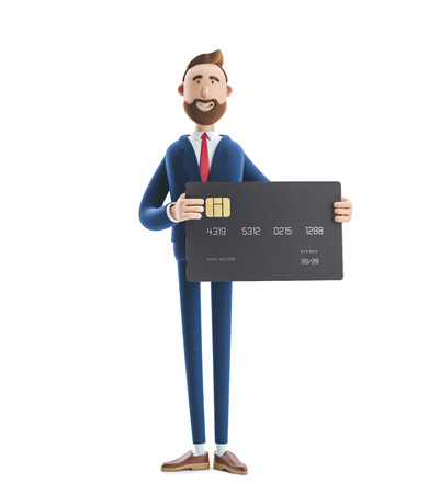 Businessman Billy with black credit card. 3d illustration