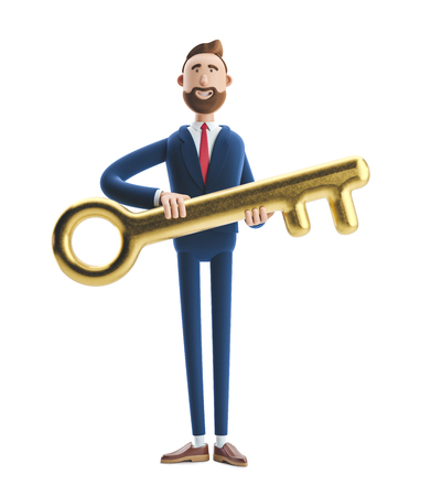 Portrait of a handsome businessman Billy with golden key. 3d illustration.