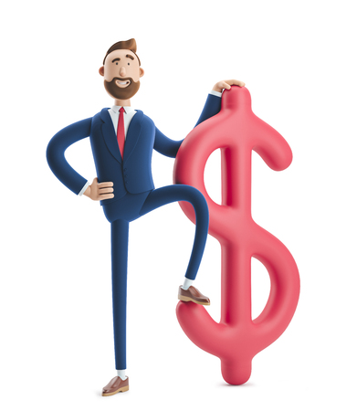 Businessman Billy with big dollar sign. 3d illustration