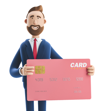 Businessman Billy with pink credit card. 3d illustration Zdjęcie Seryjne
