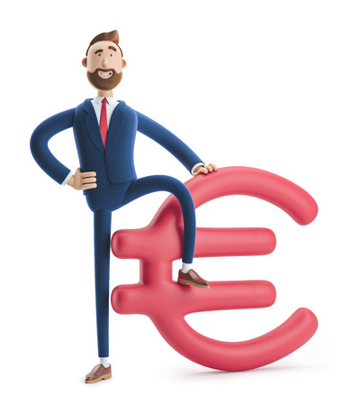 Businessman Billy with big euro sign. 3d illustration