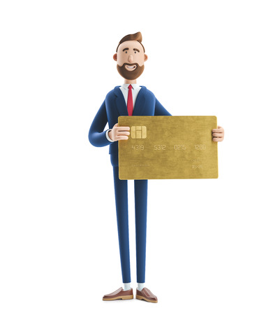 Businessman Billy with gold credit card. 3d illustration