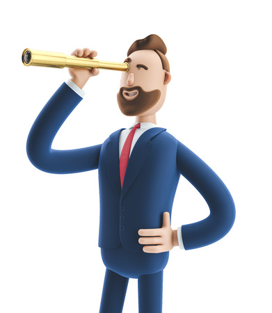 Businessman Billy  looking in future with spyglass. 3d illustration. Zdjęcie Seryjne