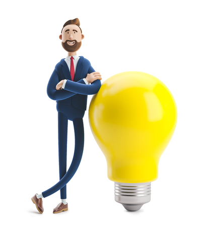 Businessman Billy with yellow bulb. Innovation and inspiration concept. 3d illustration. Zdjęcie Seryjne - 122184959